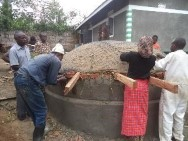Building rainwater harvesting tanks in Uganda