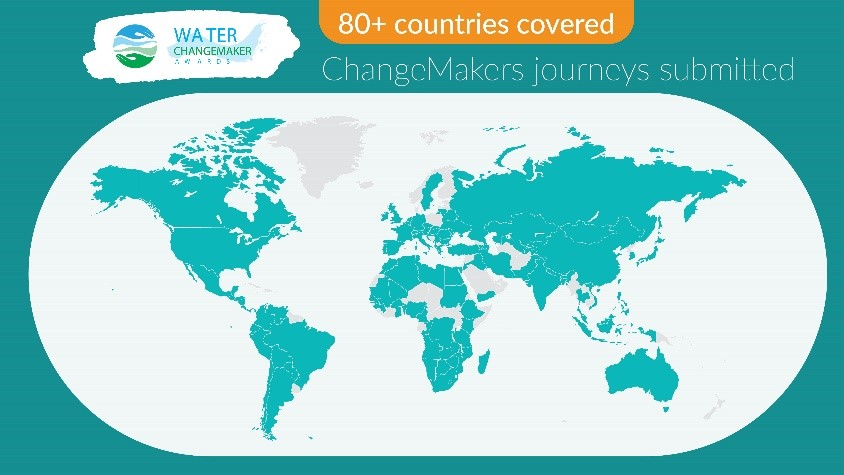 Map of Water ChangeMaker Awards contributions