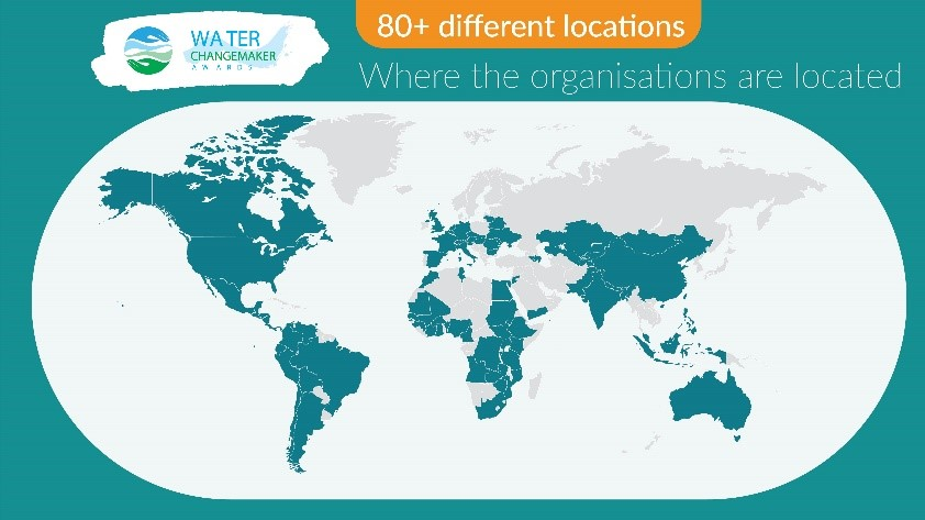Map of Water ChangeMaker Awards submission countries